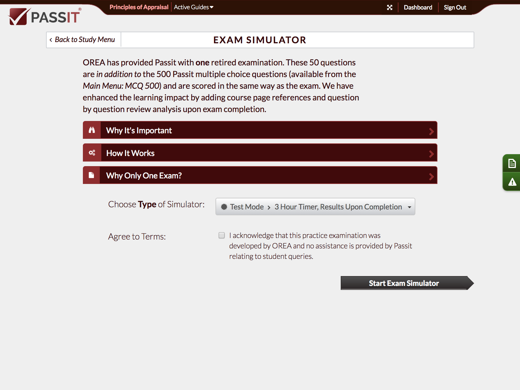 Screenshot of Exam Simulator Menu