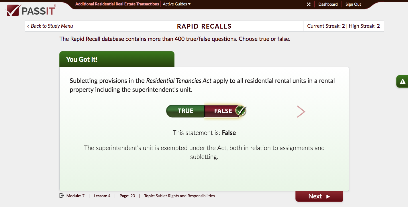 Sample Rapid Recall Question