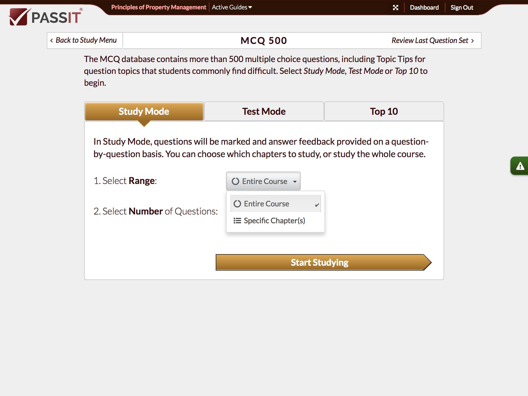 Snapshot of MCQ Menu Study Options