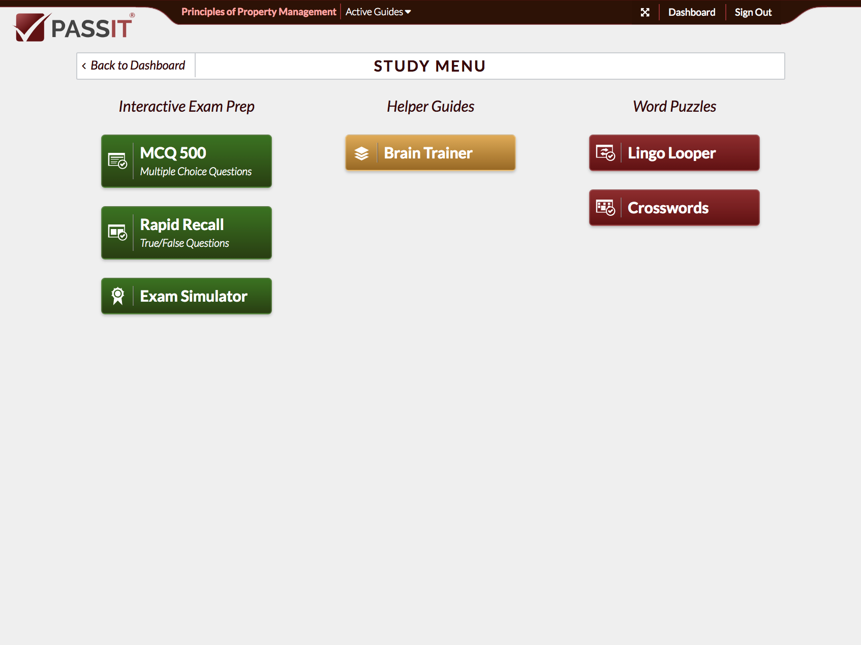 Passit's Principles of Property Management Main Menu
